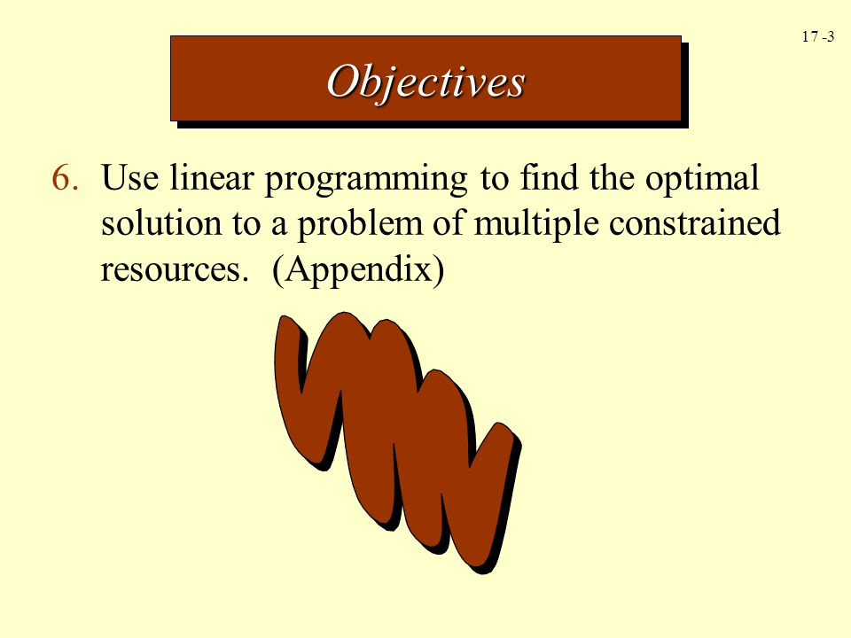 Objectives 6. Use linear programming to find the optimal solution to a problem of multiple constrained resources.