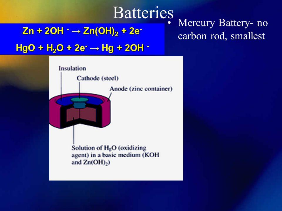 Batteries Mercury Battery- no carbon rod, smallest