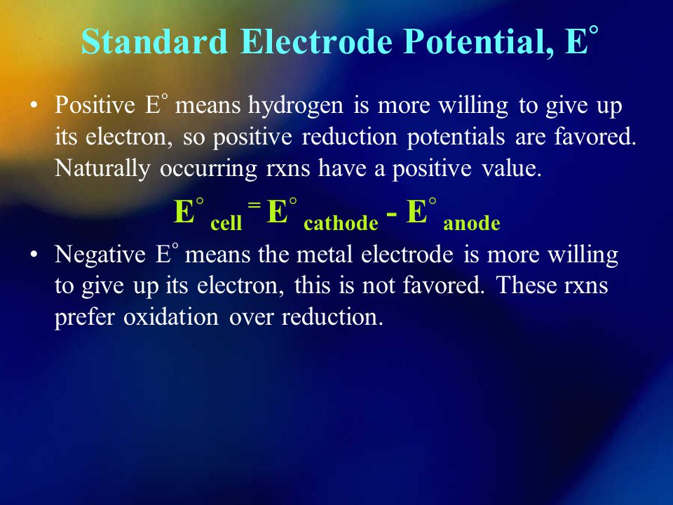 Standard Electrode Potential, E°