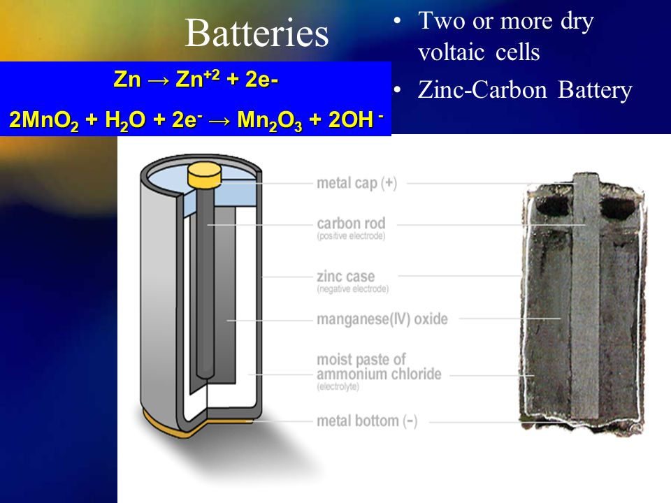 Batteries Two or more dry voltaic cells Zinc-Carbon Battery