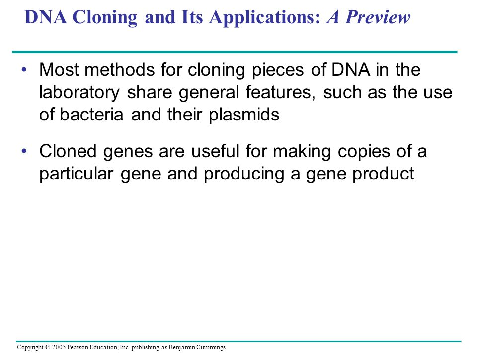DNA Cloning and Its Applications: A Preview