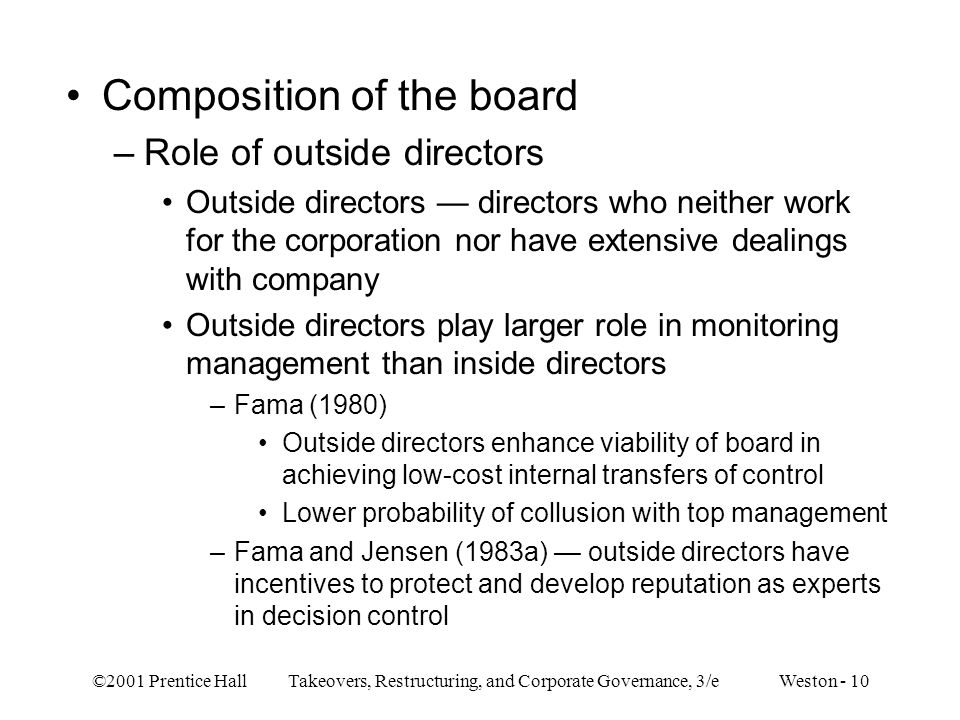 Composition of the board