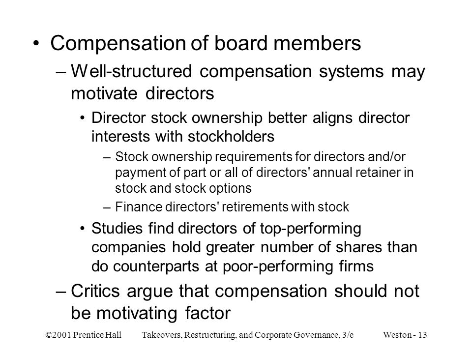 Stock options for board members