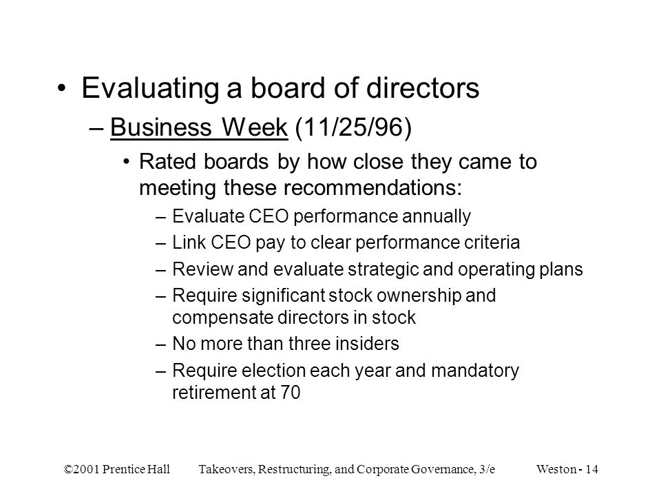 Evaluating a board of directors