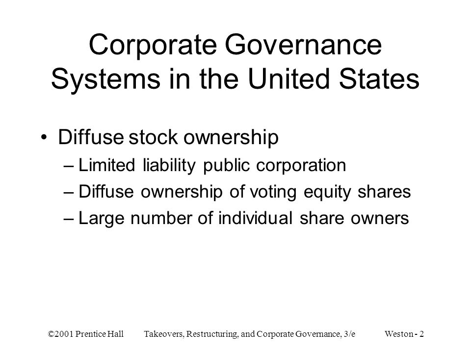 Corporate Governance Systems in the United States