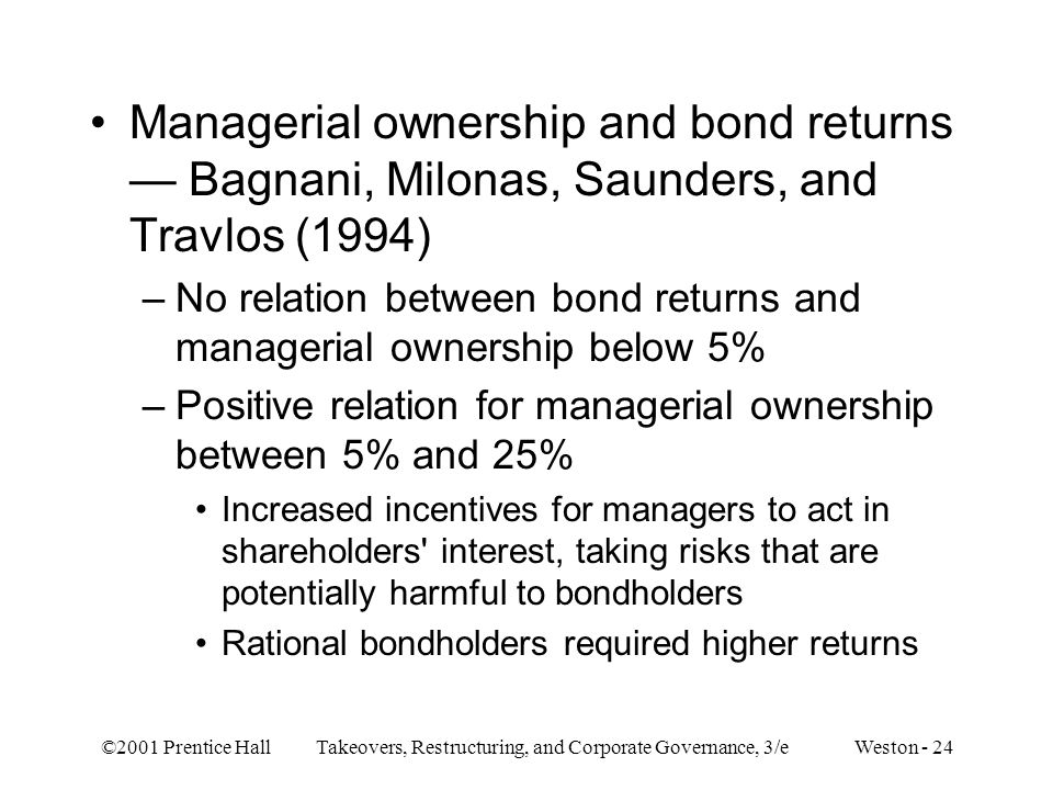 Managerial ownership and bond returns — Bagnani, Milonas, Saunders, and Travlos (1994)