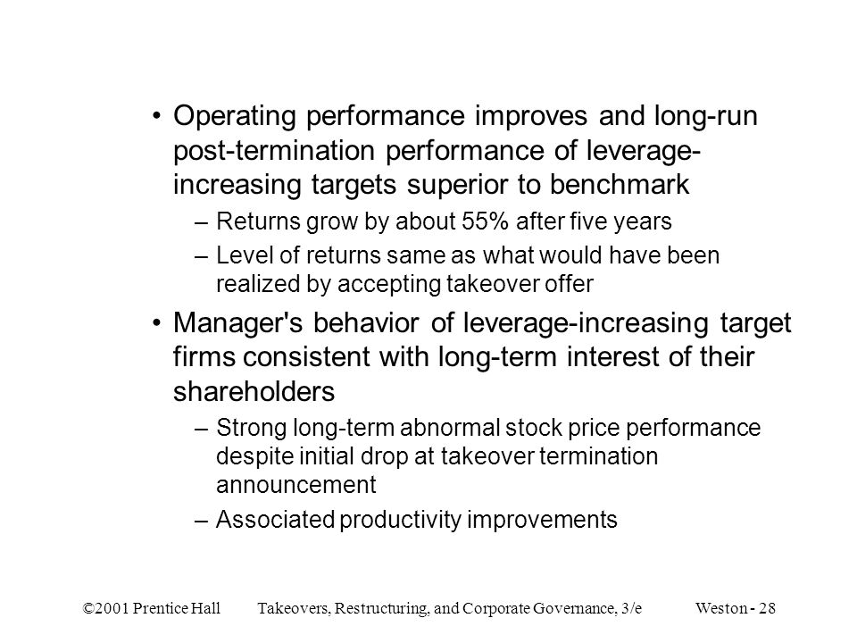 Operating performance improves and long-run post-termination performance of leverage-increasing targets superior to benchmark