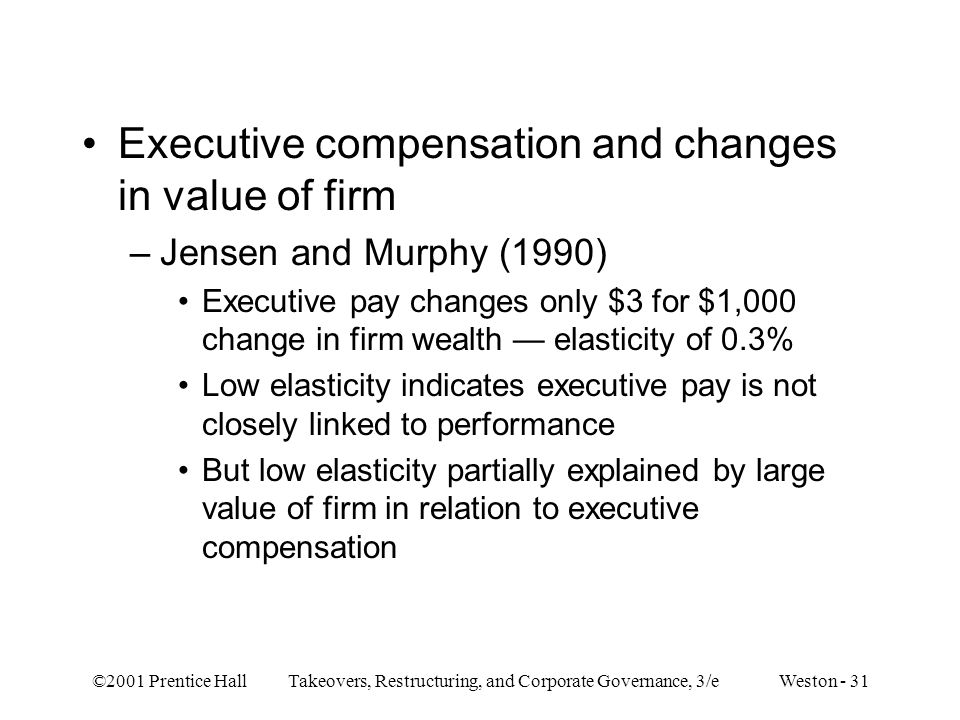 Executive compensation and changes in value of firm