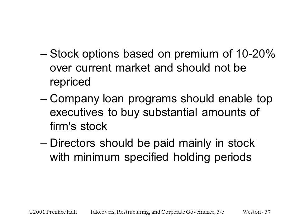 Stock options based on premium of 10-20% over current market and should not be repriced