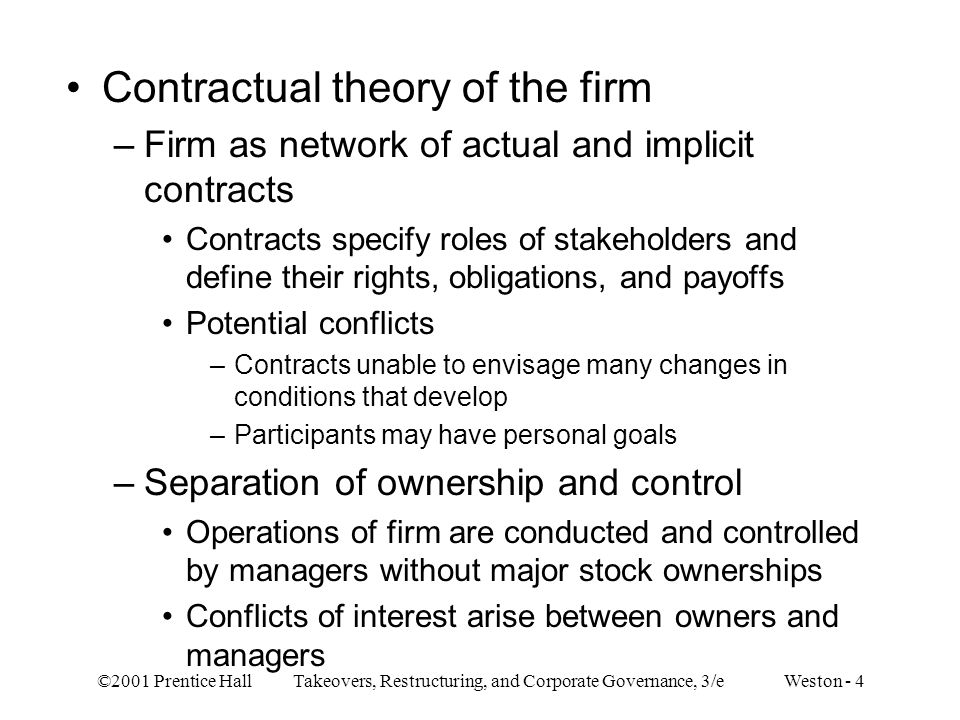 Contractual theory of the firm
