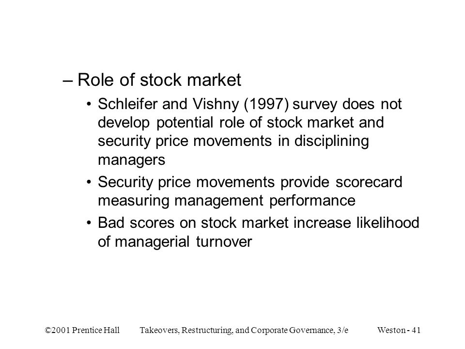 Role of stock market