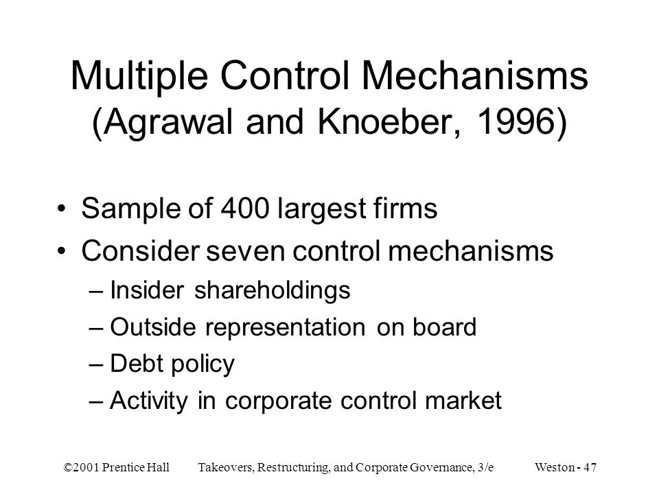 Multiple Control Mechanisms (Agrawal and Knoeber, 1996)