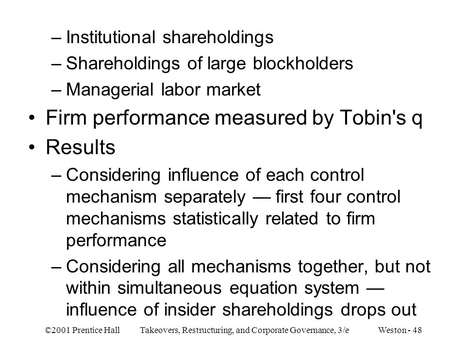 Firm performance measured by Tobin s q Results