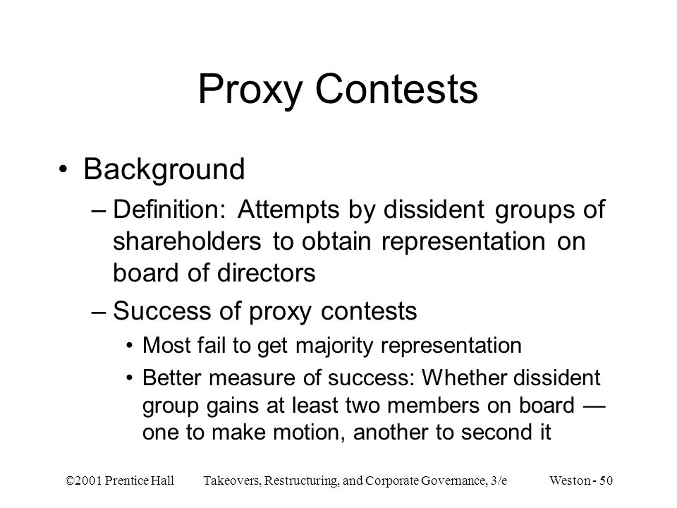Proxy Contests Background