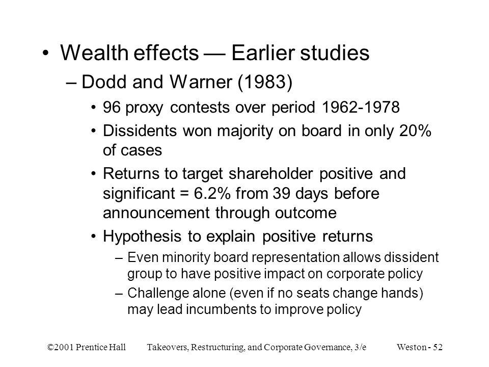 Wealth effects — Earlier studies