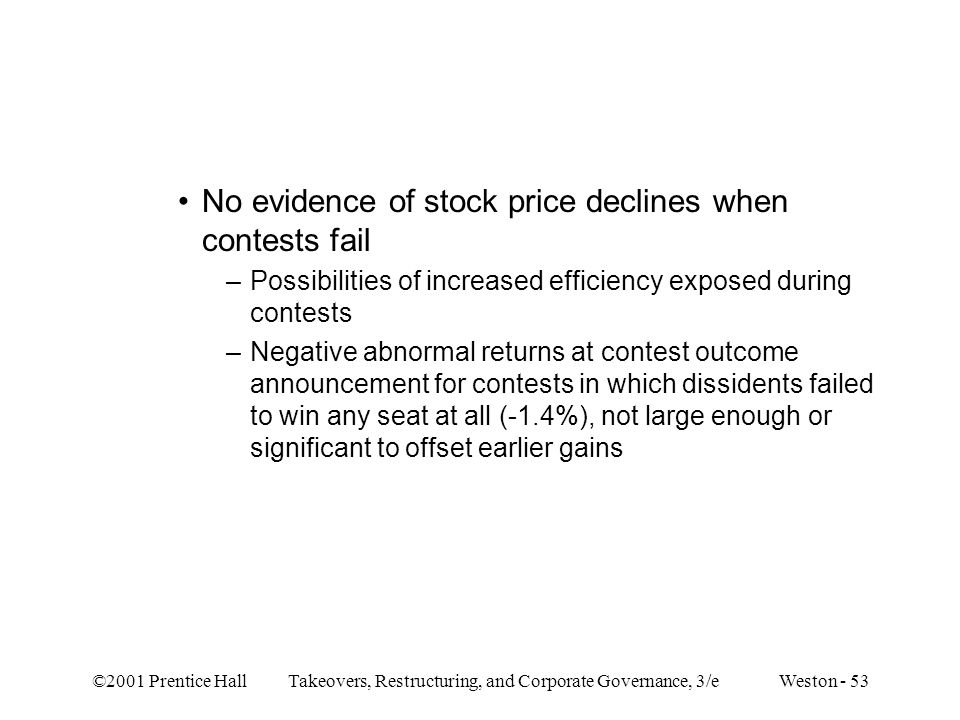 No evidence of stock price declines when contests fail