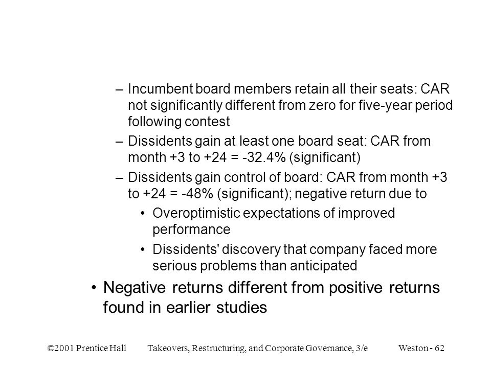 Incumbent board members retain all their seats: CAR not significantly different from zero for five-year period following contest