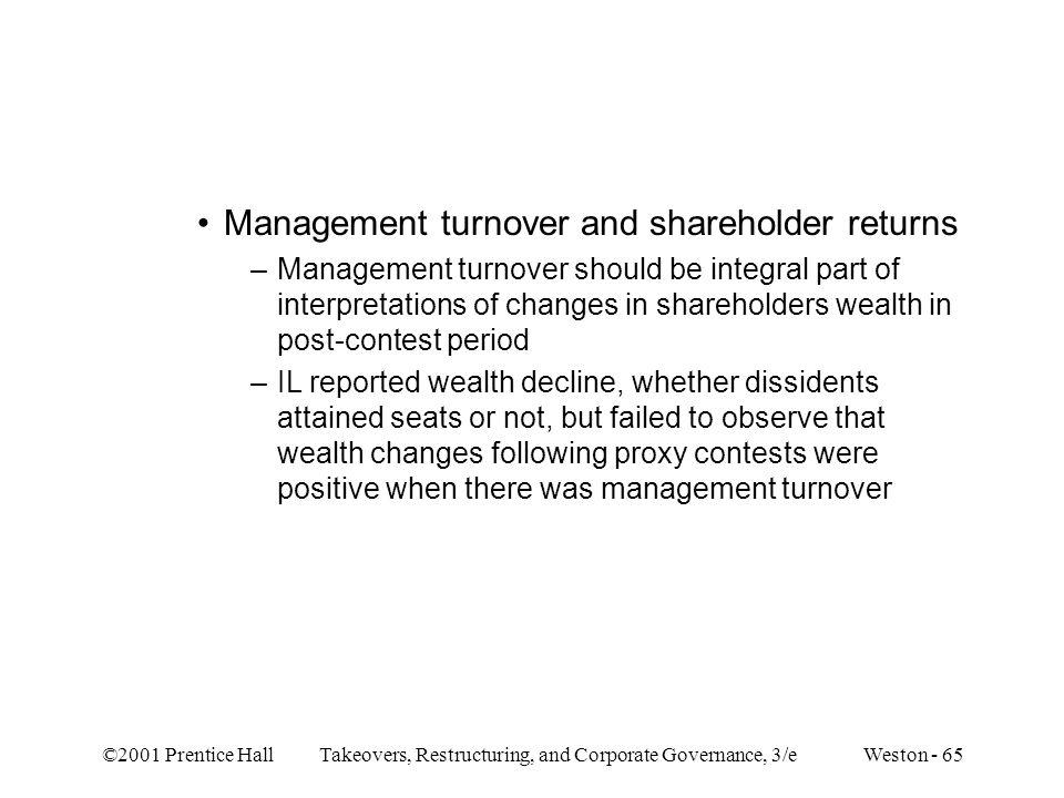 Management turnover and shareholder returns