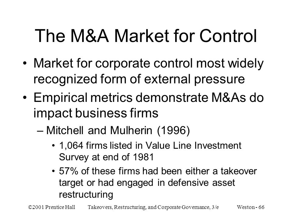The M&A Market for Control