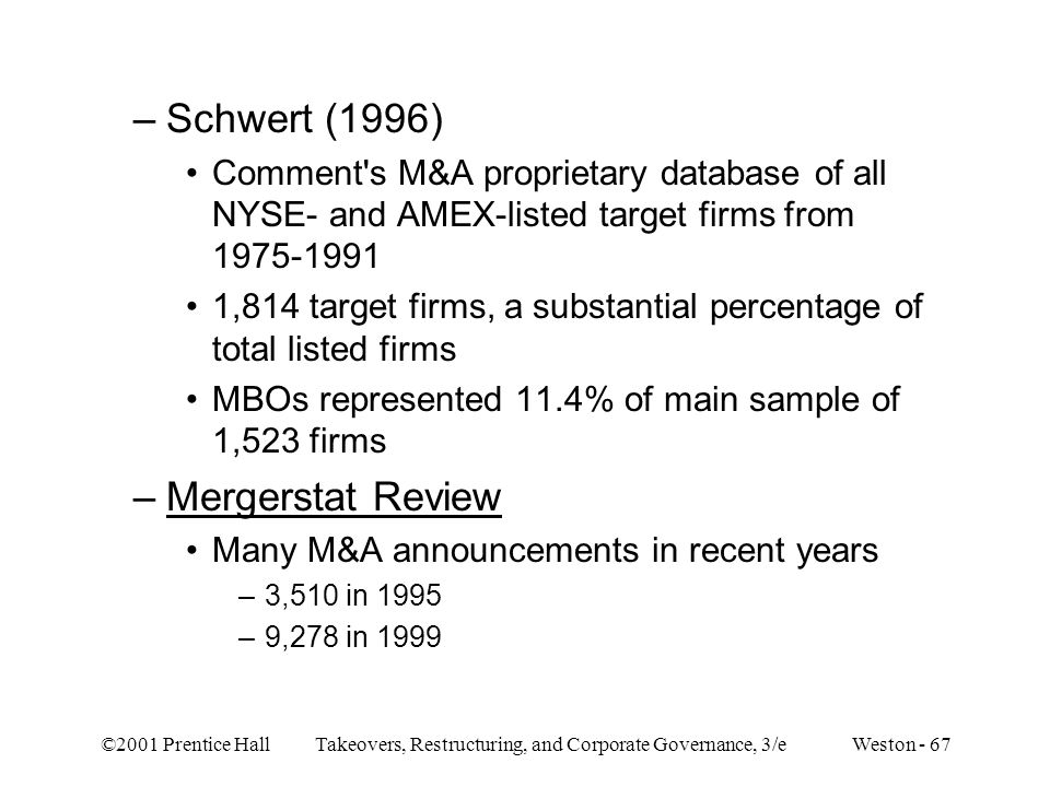 Schwert (1996) Mergerstat Review