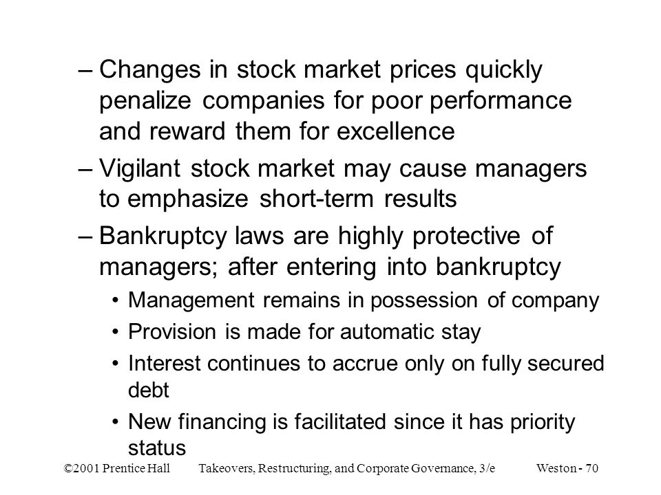 Changes in stock market prices quickly penalize companies for poor performance and reward them for excellence
