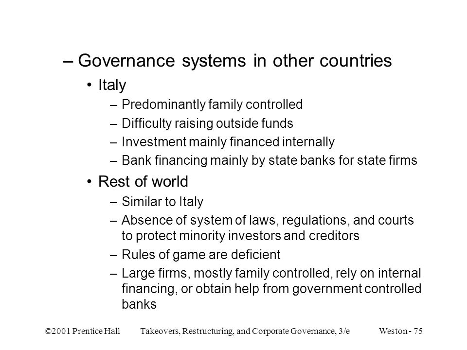 Governance systems in other countries