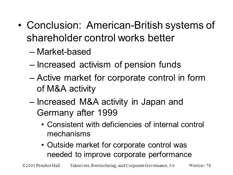 Conclusion: American-British systems of shareholder control works better