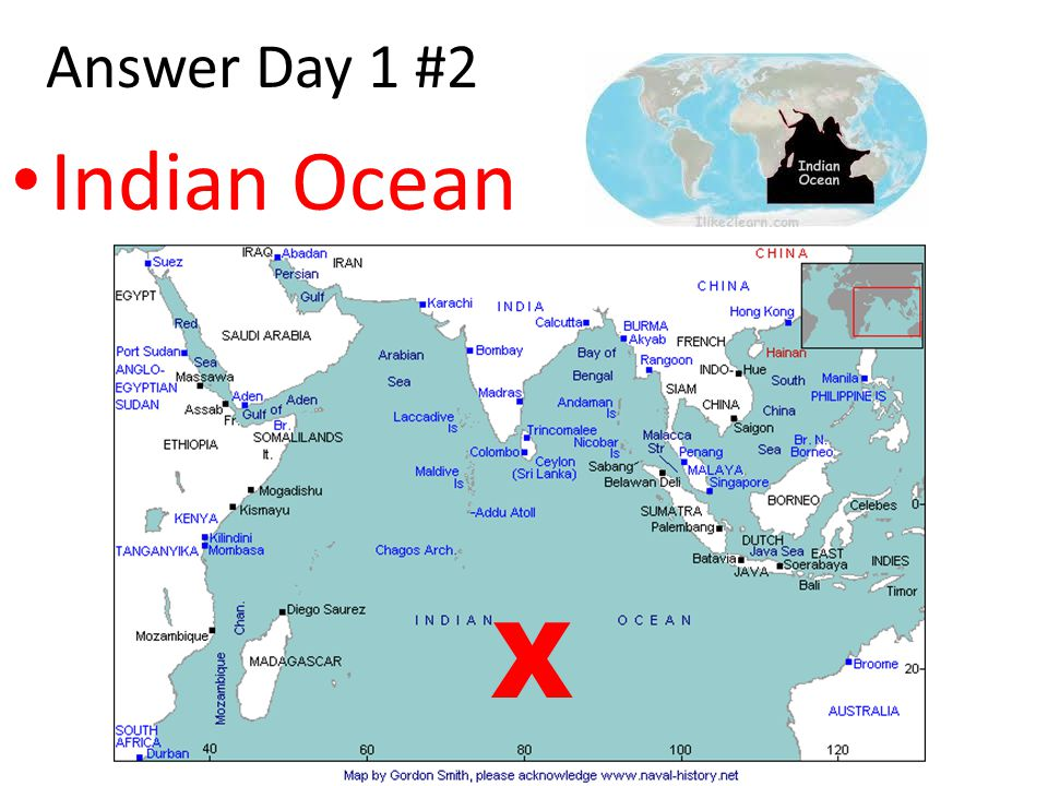 Answer Day 1 #2 Indian Ocean X