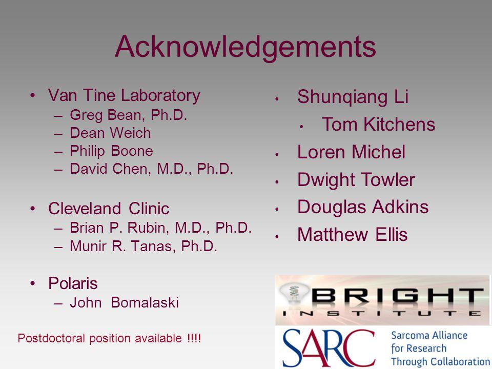 Acknowledgements Shunqiang Li Tom Kitchens Loren Michel Dwight Towler