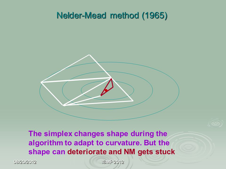 Nelder-Mead method (1965) The simplex changes shape during the algorithm to adapt to curvature. But the shape can deteriorate and NM gets stuck.