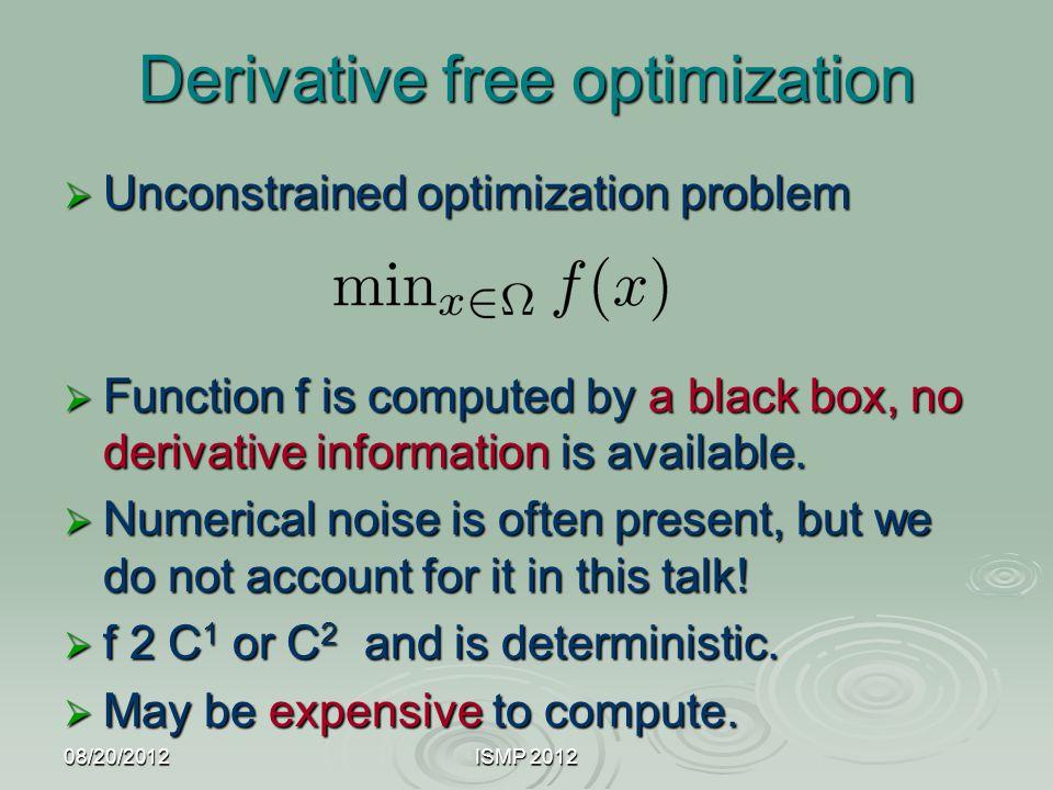 Derivative free optimization