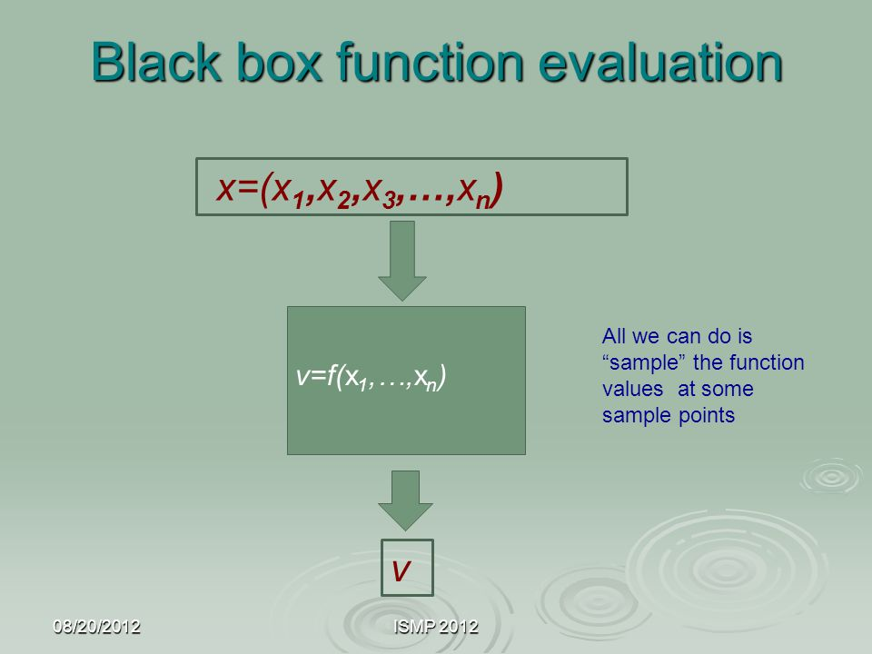Black box function evaluation