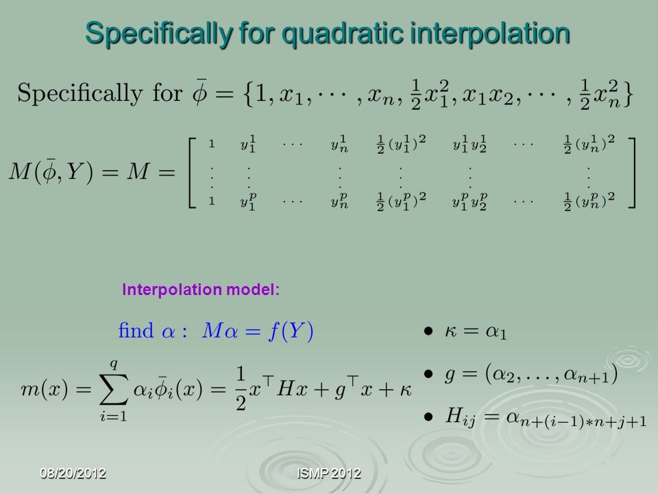 Specifically for quadratic interpolation