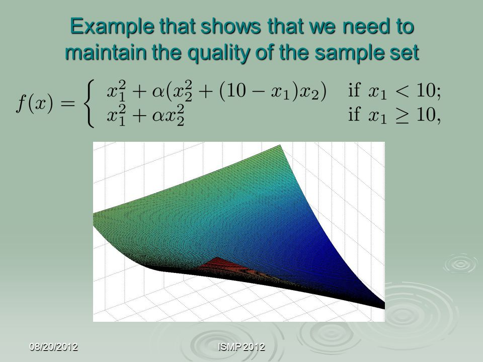 Example that shows that we need to maintain the quality of the sample set