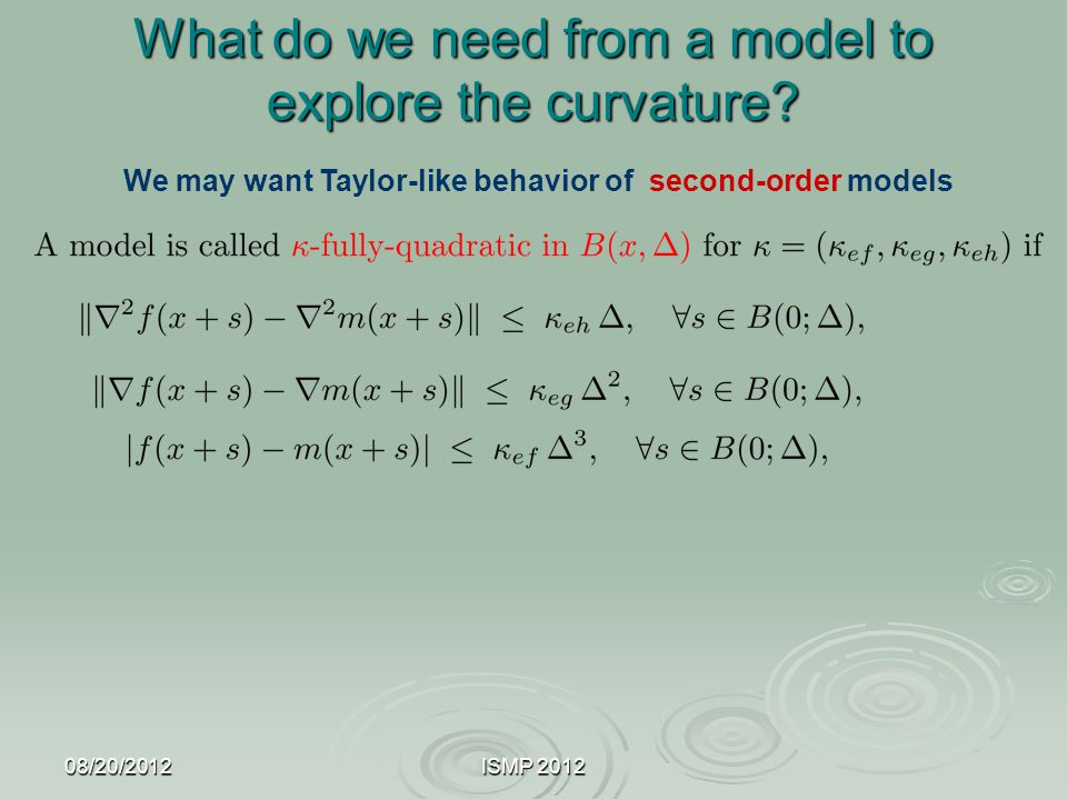 What do we need from a model to explore the curvature