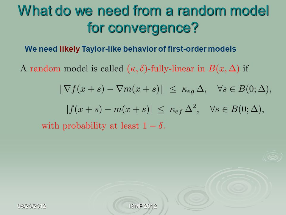 What do we need from a random model for convergence