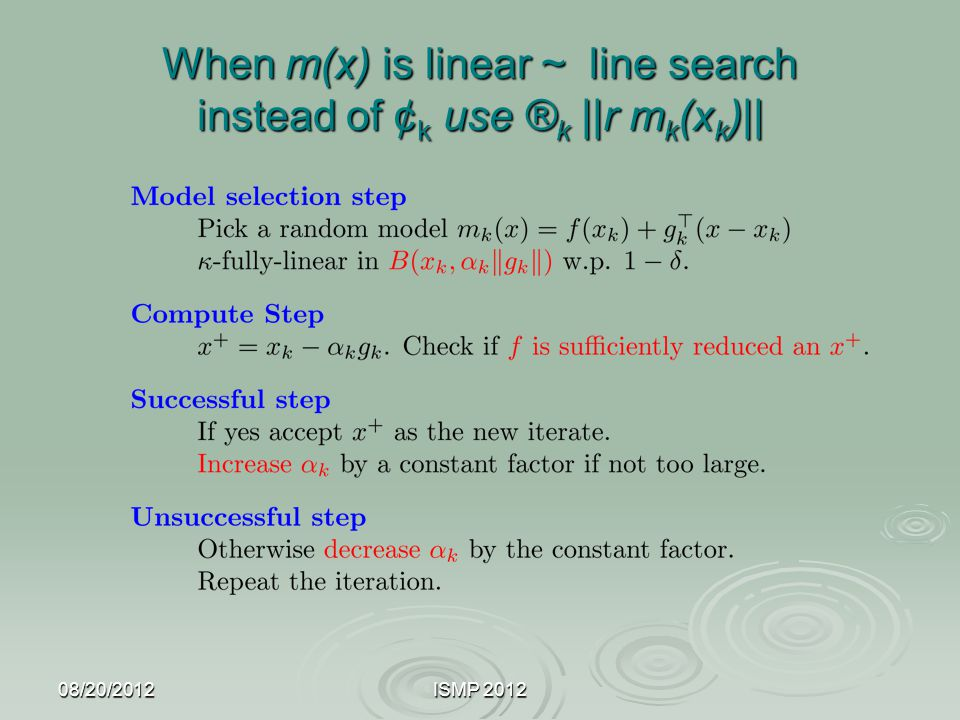 When m(x) is linear ~ line search instead of ¢k use ®k ||r mk(xk)||