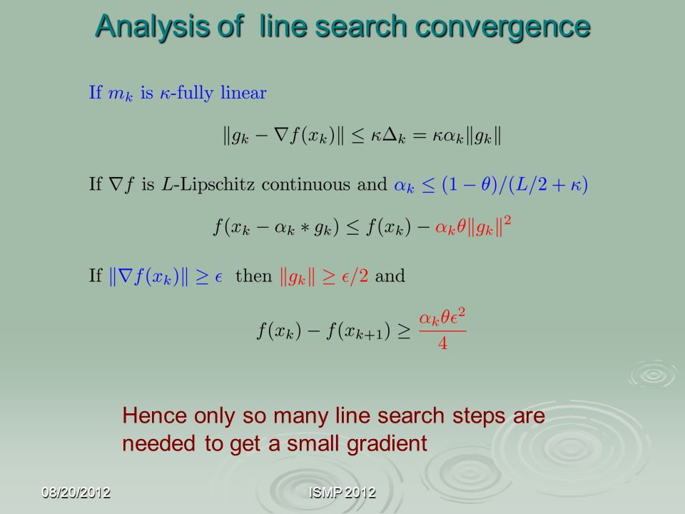 Analysis of line search convergence