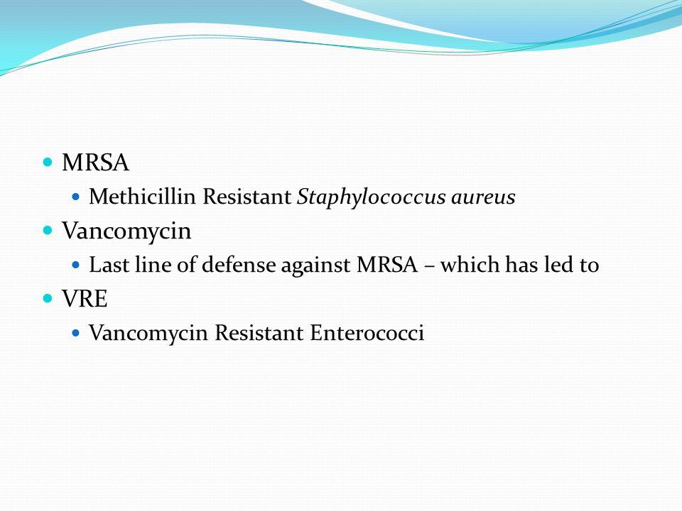 MRSA Vancomycin VRE Methicillin Resistant Staphylococcus aureus
