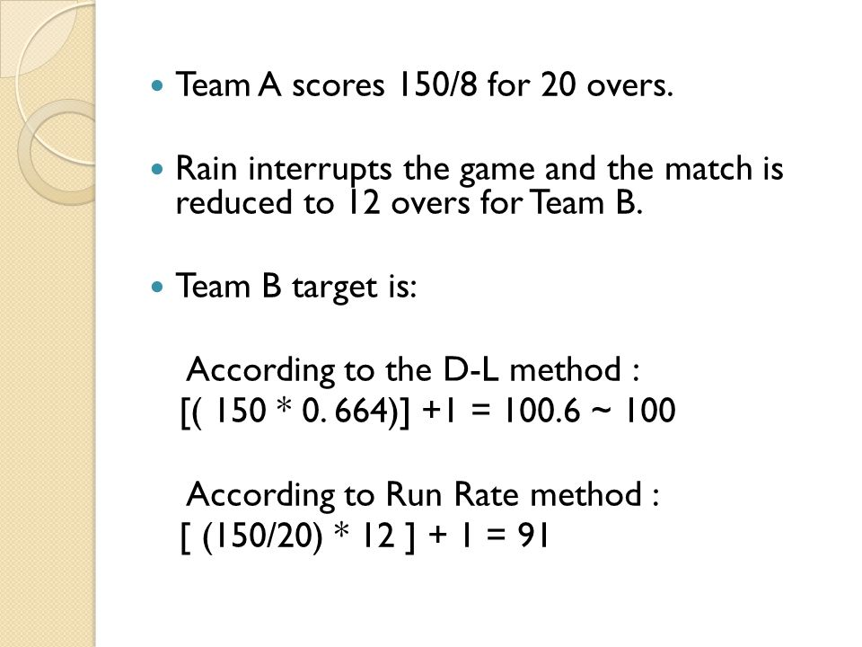Team A scores 150/8 for 20 overs.