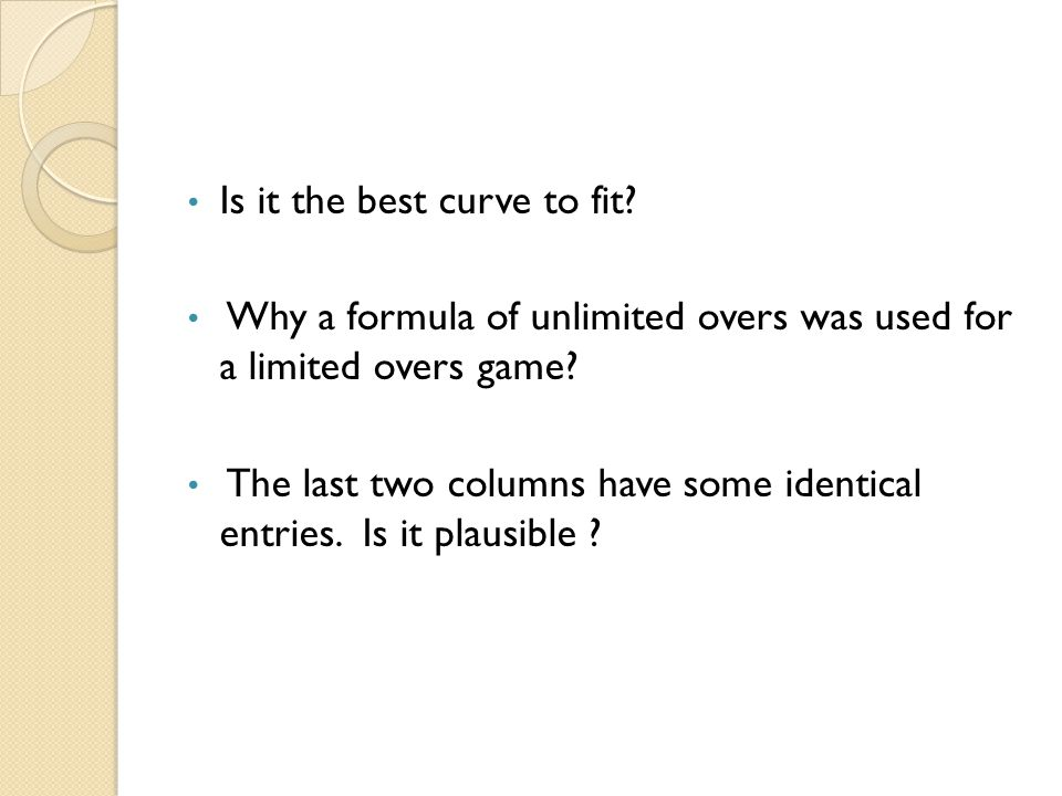 Is it the best curve to fit