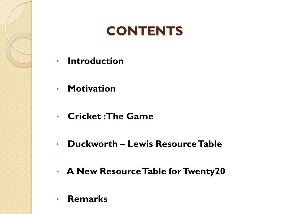 CONTENTS Introduction Motivation Cricket : The Game