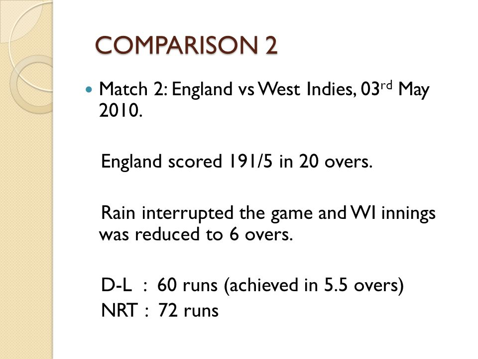 COMPARISON 2 Match 2: England vs West Indies, 03rd May 2010.