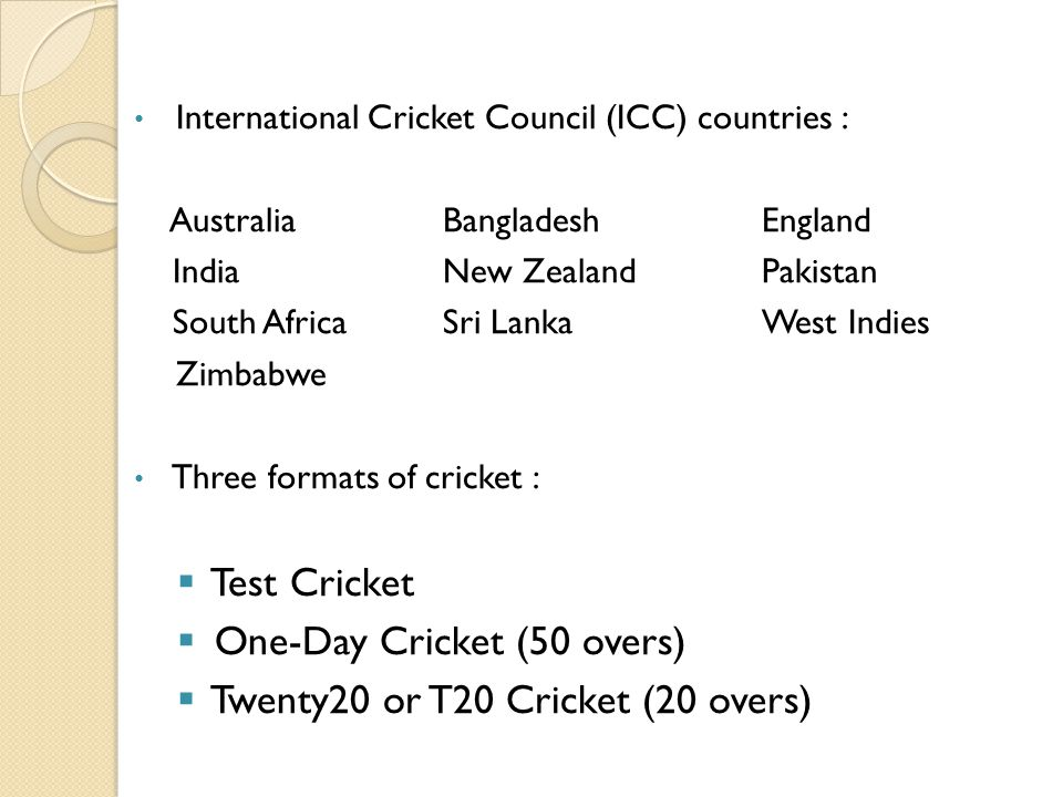 One-Day Cricket (50 overs) Twenty20 or T20 Cricket (20 overs)