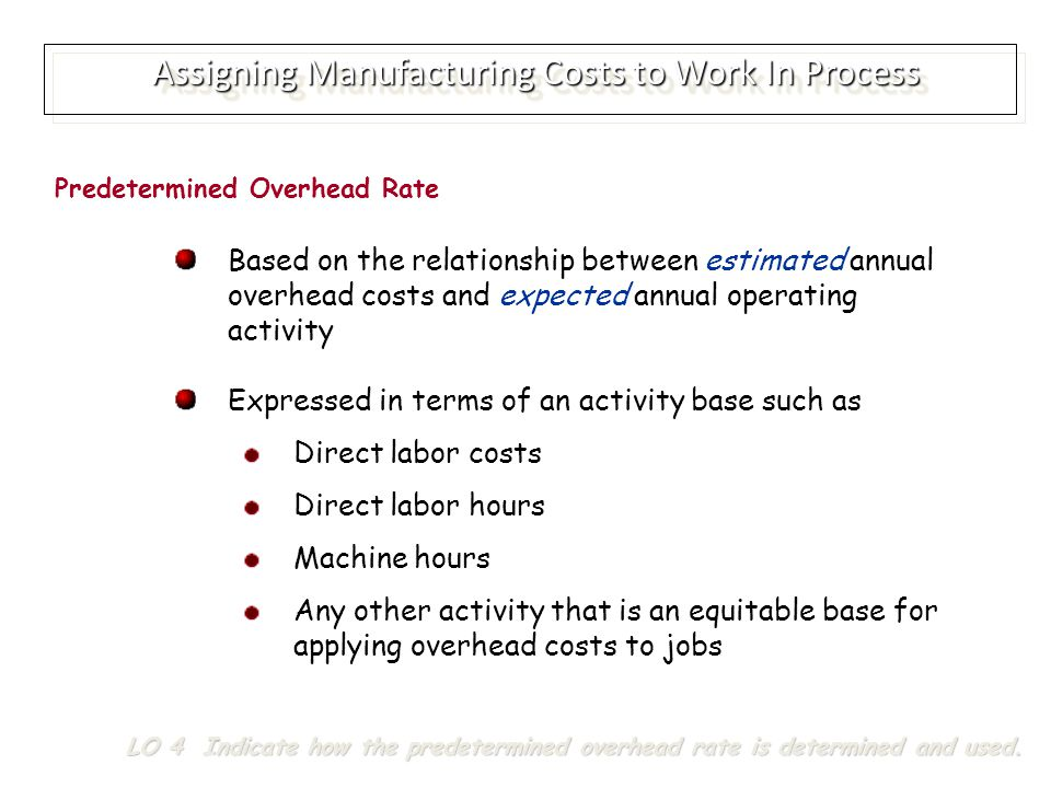 Assigning Manufacturing Costs to Work In Process