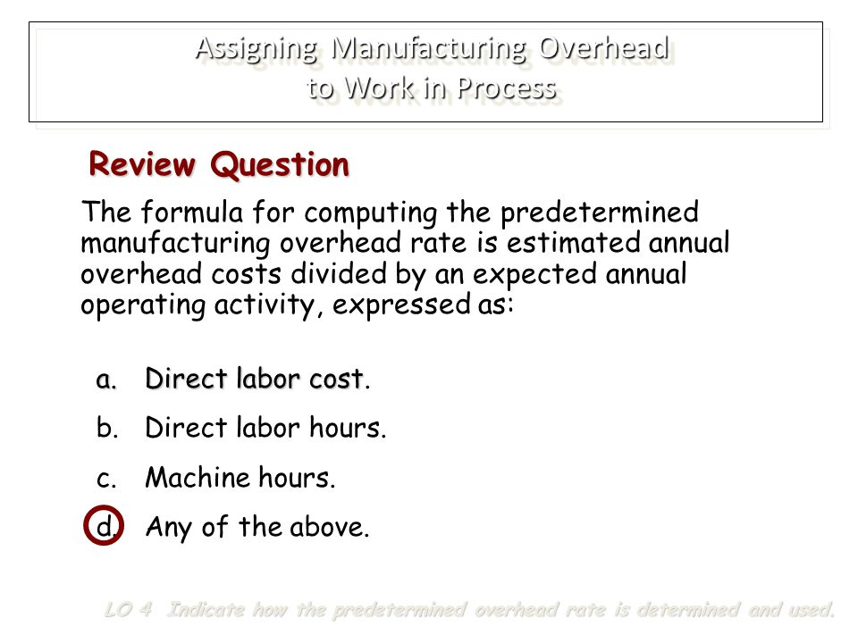 Assigning Manufacturing Overhead to Work in Process