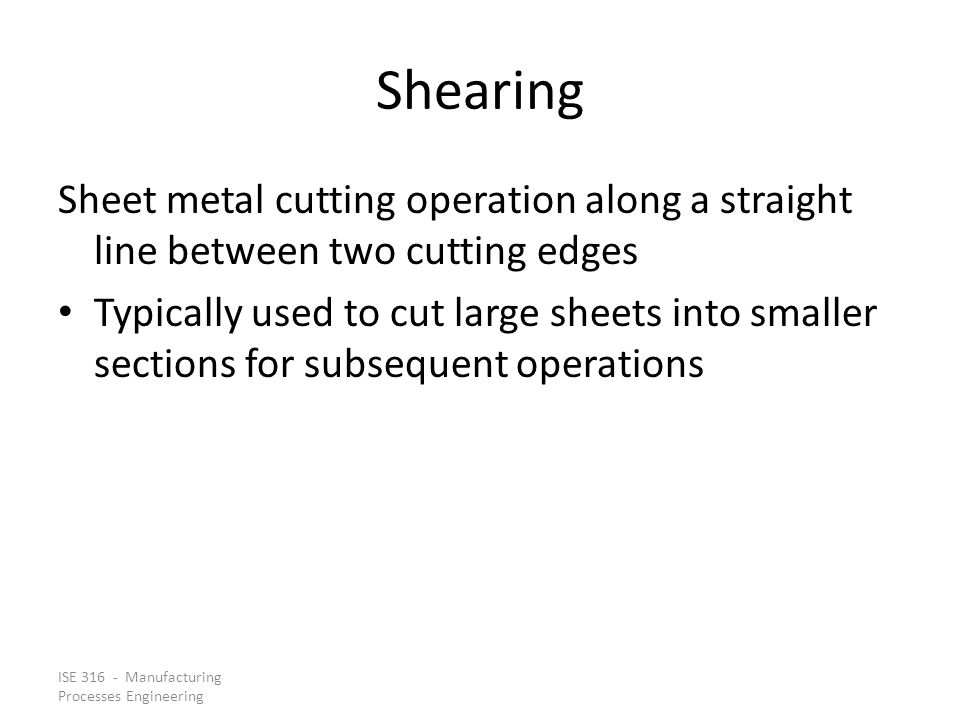 Shearing Sheet metal cutting operation along a straight line between two cutting edges.