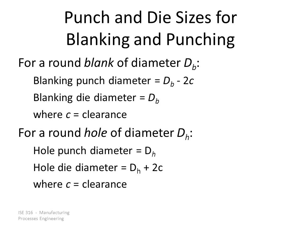 Punch and Die Sizes for Blanking and Punching