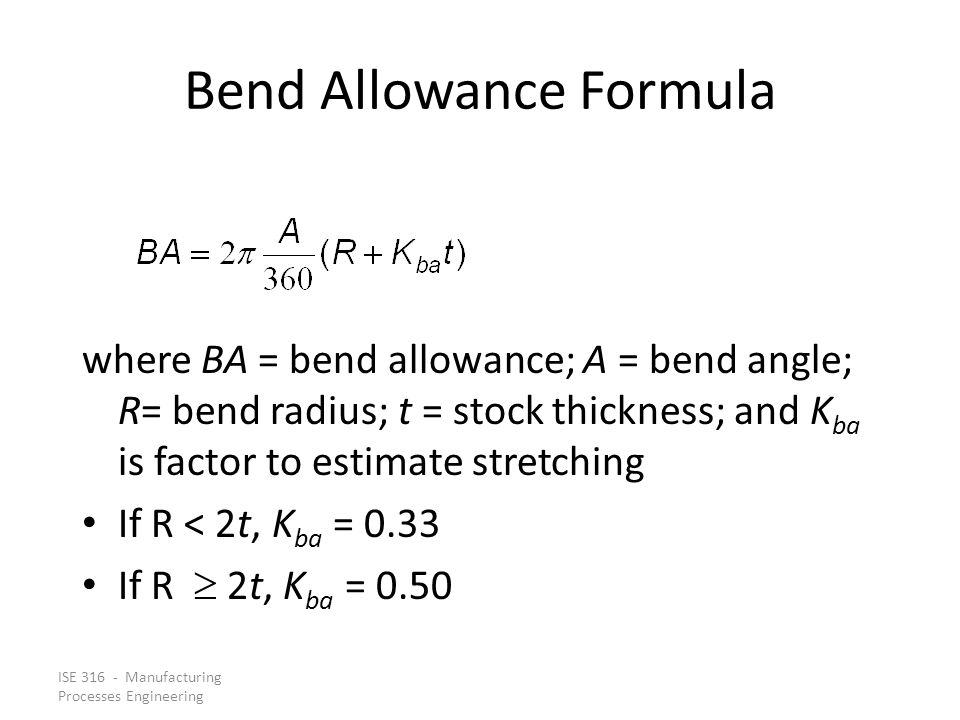 Bend Allowance Formula