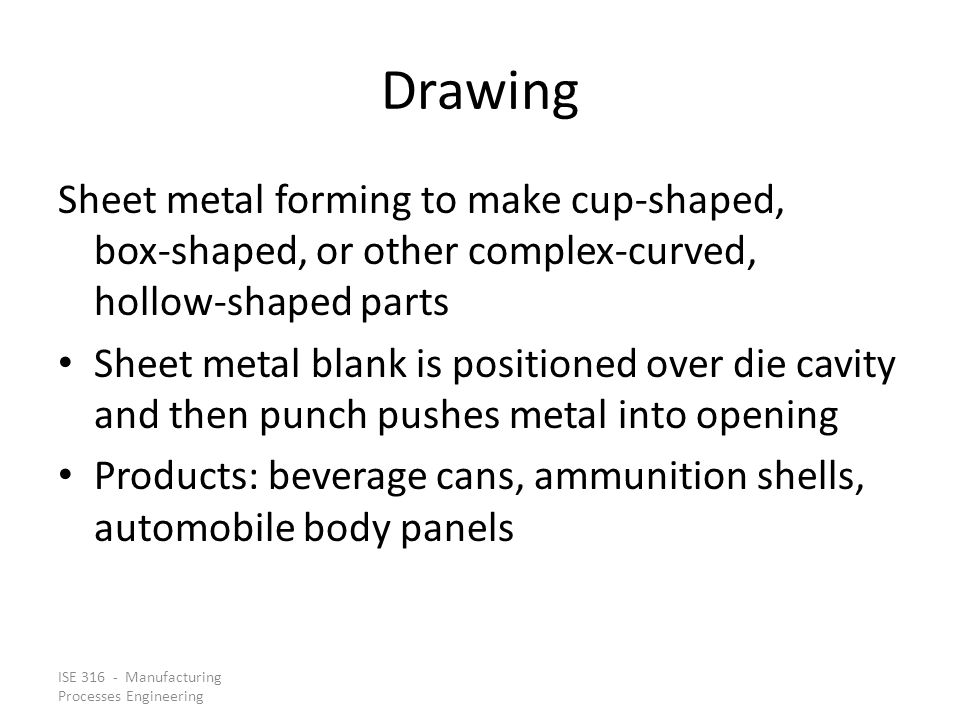 Drawing Sheet metal forming to make cup‑shaped, box‑shaped, or other complex‑curved, hollow‑shaped parts.